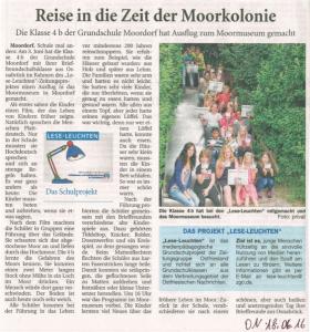"""Zeitungsartikel """"Reise in die Zeit der Moorkolonie"""". In: Ostfriesische Nachrichten vom 18. Juni 2016."""