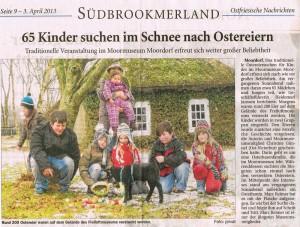 65 Kinder suchen im Schnee nach Ostereiern.